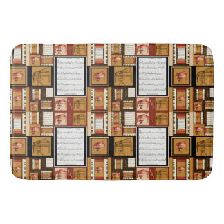 piano keys antique piano chair bench sheet music bath mats