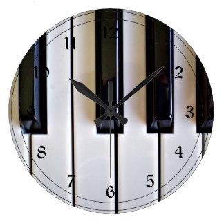 Piano Keys - Black and White Large Clock