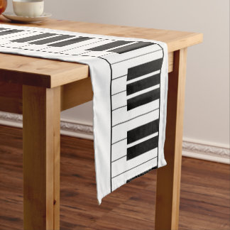 Piano Keys Black And White Music Themed Short Table Runner