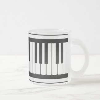 Piano Keys Black And White Pattern Frosted Glass Mug