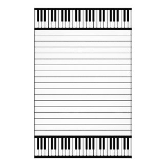 Piano Keys Black And White Pattern Lined Stationery