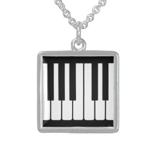 Piano Keys Black And White Pattern Square Pendant Necklace