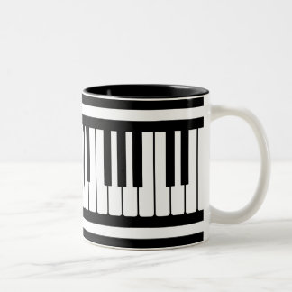 Piano Keys Black And White Pattern Two-Tone Coffee Mug