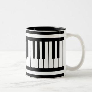Piano Keys Black And White Pattern Two-Tone Coffee Mug