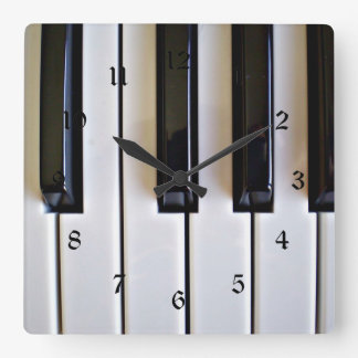 Piano Keys - Black and White Square Wall Clock
