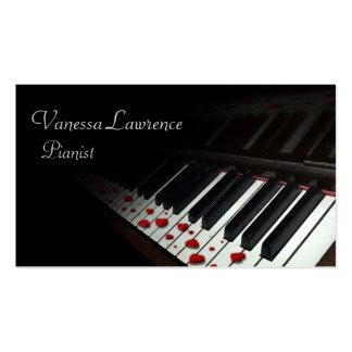 Piano keys black elegant business card template