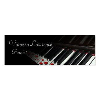 Piano keys black elegant skinny business card templates
