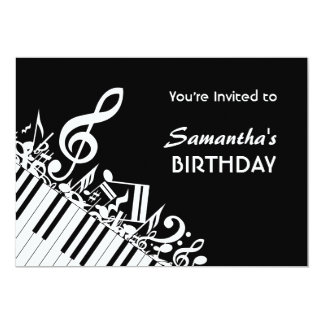 Piano Keys Black White Music Notes Birthday Party Card