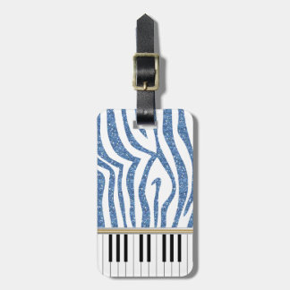 Piano Keys Blue Glitter Zebra Print Luggage Tag