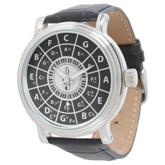 Piano Keys Circle of Fifths Trebele clef Wrist Watches