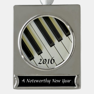 Piano Keys Custom Noteworthy New Year Silver Plated Banner Ornament