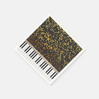 Piano Keys Gold Polka Dots Pattern Disposable Serviettes