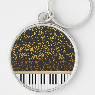 Piano Keys Gold Polka Dots Pattern Key Ring