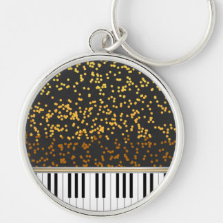 Piano Keys Gold Polka Dots Pattern Silver-Colored Round Key Ring