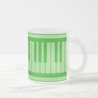 Piano Keys Green Pattern Frosted Glass Mug