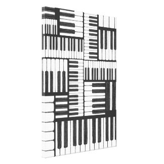Piano Keys in Charcoal Music Canvas Print