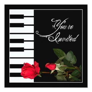 Piano Keys invitation/Red Roses 13 Cm X 13 Cm Square Invitation Card