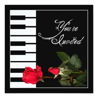 Piano Keys invitation/Red Roses Card