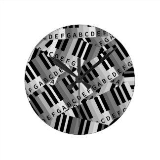 Piano Keys Layered Pattern Round Clock