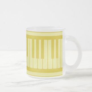 Piano Keys Light Yellow Pattern Frosted Glass Mug