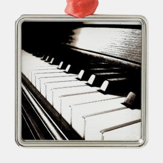 Piano Keys Macro Silver-Colored Square Decoration
