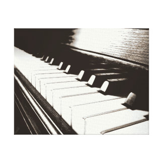 Piano Keys Macro Wrapped Canvas Stretched Canvas Print