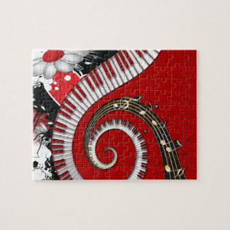 Piano Keys Music Notes Grunge Floral Swirls Jigsaw Puzzle