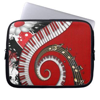 Piano Keys Music Notes Grunge Floral Swirls Laptop Sleeve