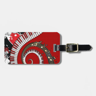 Piano Keys Music Notes Grunge Floral Swirls Luggage Tag