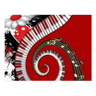 Piano Keys Music Notes Grunge Floral Swirls Postcard