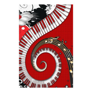 Piano Keys Music Notes Grunge Floral Swirls Personalized Stationery