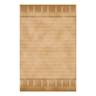 Piano Keys Old Parchemnt Paper Colored Lined Customised Stationery