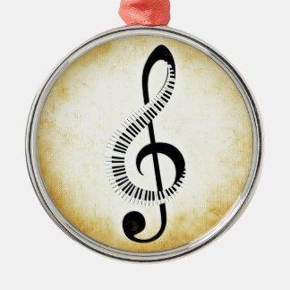 Piano Keys on a Music Clef Christmas Ornament
