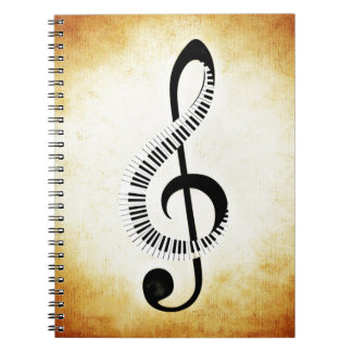 Piano Keys on a Music Clef Notebooks
