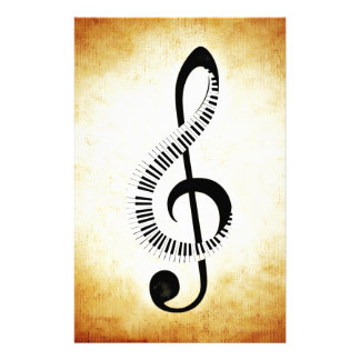 Piano Keys on a Music Clef Customized Stationery