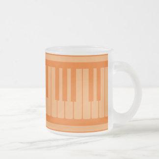 Piano Keys Orange Pattern Frosted Glass Mug