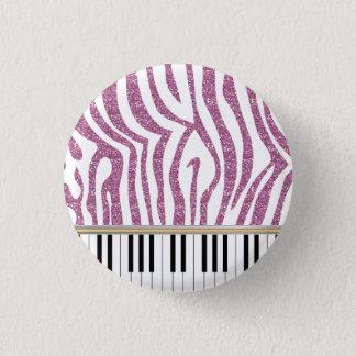 Piano Keys Pink Glitter Zebra Print 3 Cm Round Badge