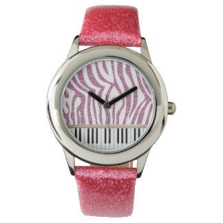 Piano Keys Pink Glitter Zebra Print Watch
