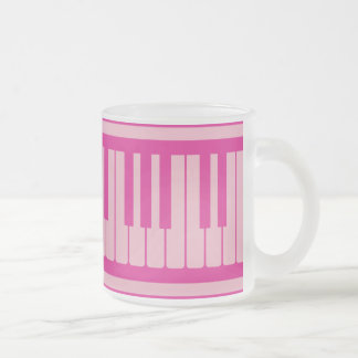 Piano Keys Pink Magenta Pattern Frosted Glass Mug