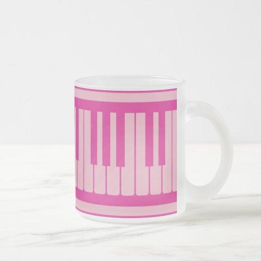 Piano Keys Pink Magenta Pattern Coffee Mugs
