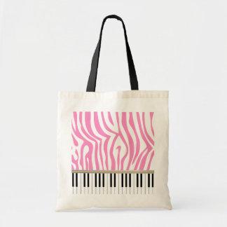 Piano Keys Pink Zebra Print Budget Tote Bag