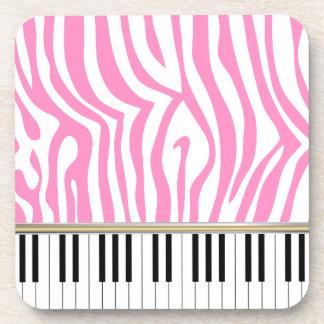 Piano Keys Pink Zebra Print Drink Coasters
