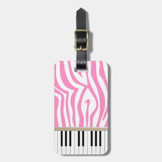 Piano Keys Pink Zebra Print Luggage Tag