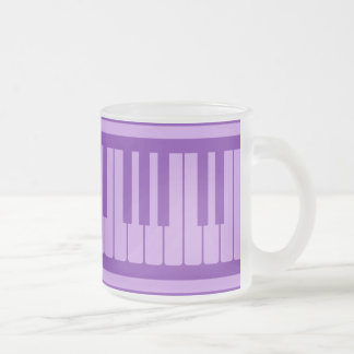 Piano Keys Purple Lavender Pattern Frosted Glass Mug