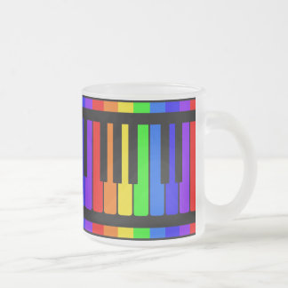 Piano Keys Rainbow And Black Pattern Frosted Glass Coffee Mug