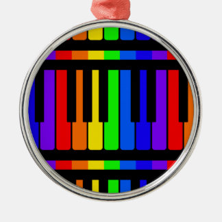 Piano Keys Rainbow And Black Pattern Silver-Colored Round Decoration