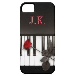 Piano Keys Red Rose Music Monogram iPhone5 case