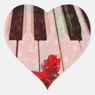 Piano Keys,Roses & Music Notes_ Heart Sticker