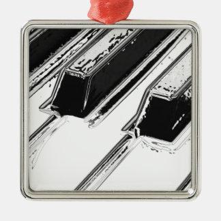 Piano Keys Silver-Colored Square Decoration