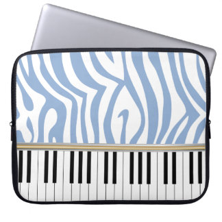 Piano Keys Sky Blue Zebra Print Laptop Sleeve